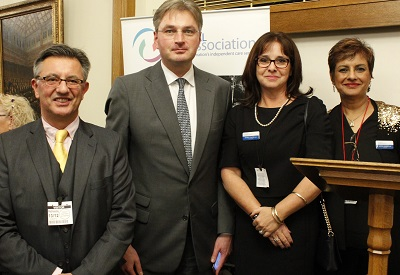Mark Thorn, Daniel Kawczynaki MP, Mandy Thorn MBE (NCA Board) & Nadra Ahmed OBE (NCA Chair)